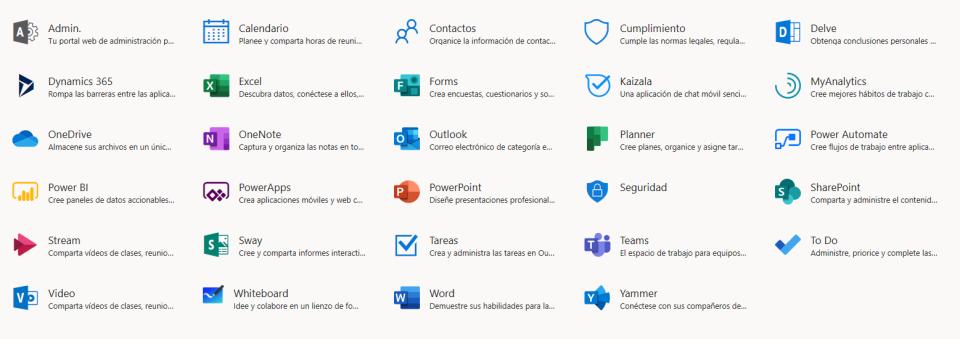 Iconos de todas las aplicaciones de Office 365