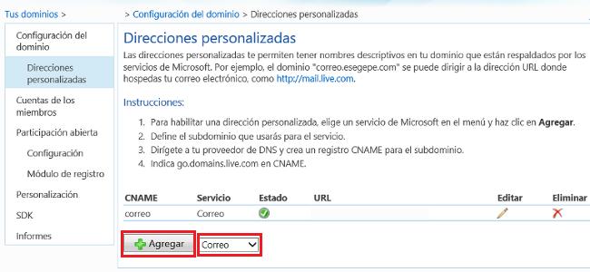 URL servicios