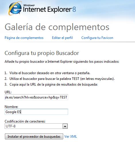 IE8 - Configurar buscador